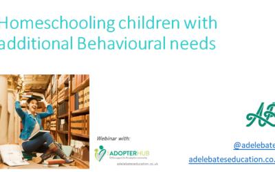 Homeschooling children with Behaviour Needs