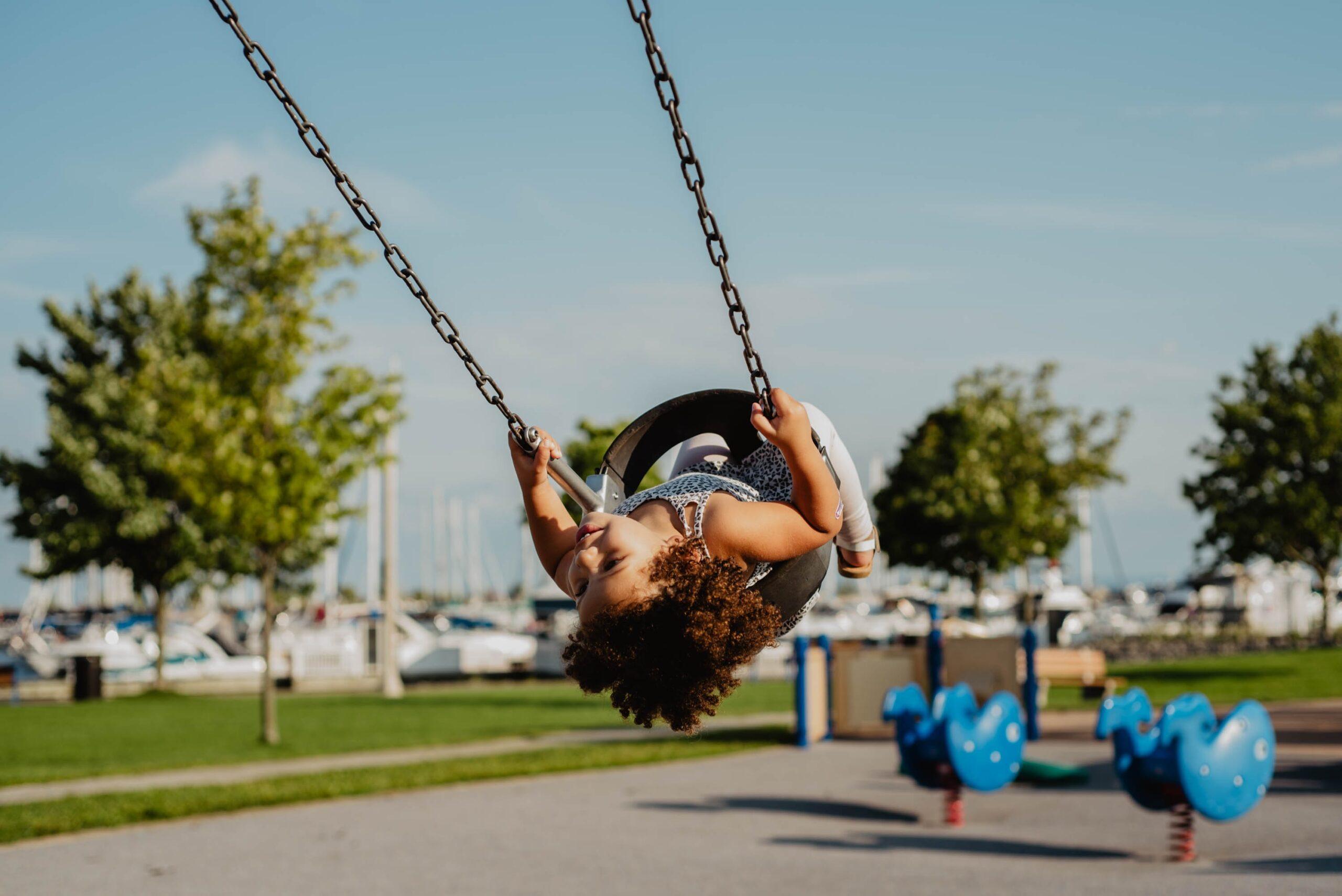A swinging on a swing