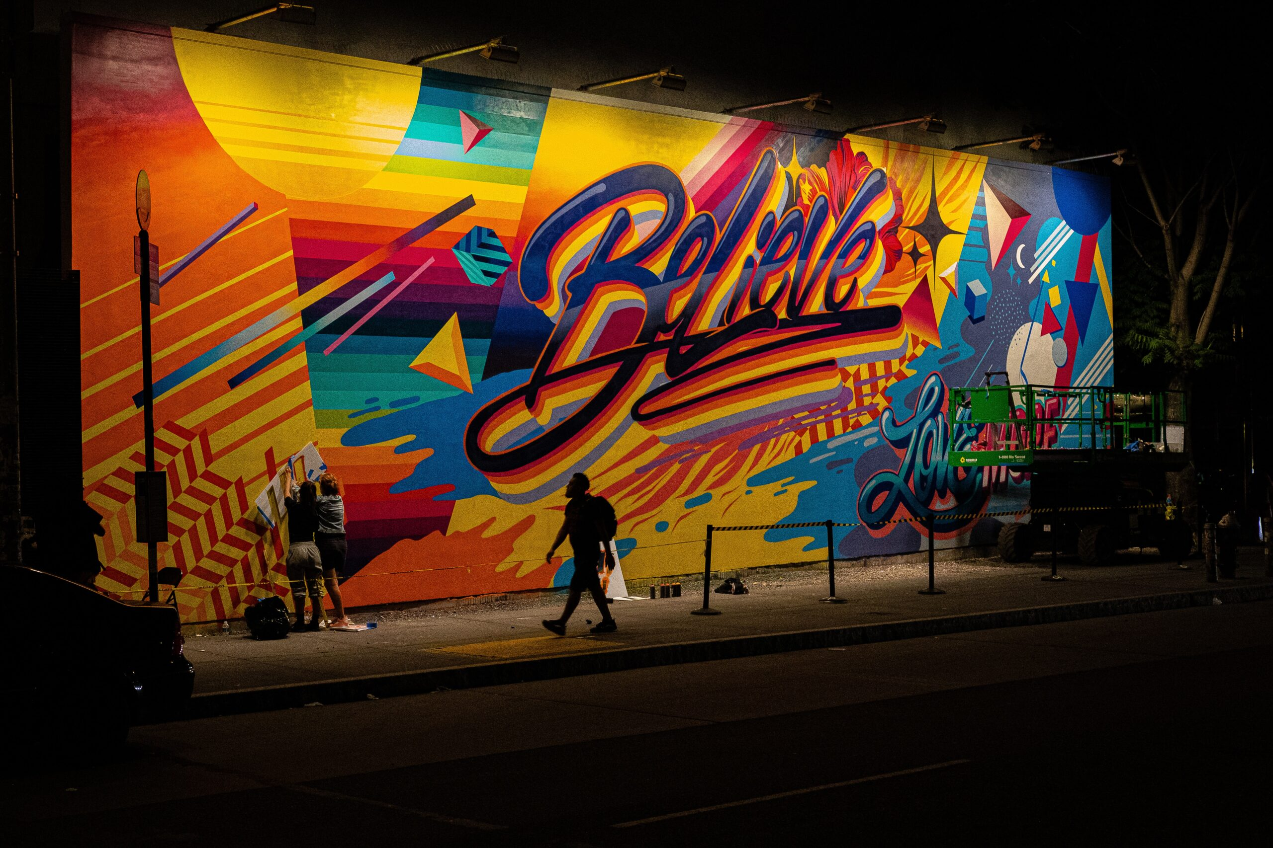 """Colourful graffiti of the word """"Believe"""""""
